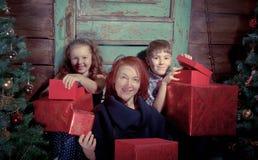 La famiglia felice decora l'albero di Natale Fotografia Stock Libera da Diritti