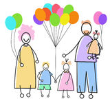 La famiglia felice Parents tre bambini che tengono il concetto di festa dei palloni Fotografia Stock Libera da Diritti