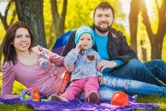 La famiglia felice plaing nel parco Fotografia Stock Libera da Diritti