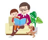 La famiglia felice sullo strato ha letto insieme il libro royalty illustrazione gratis