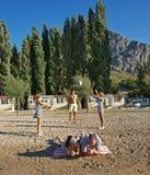 La famiglia gode di in vacanze estive Fotografia Stock Libera da Diritti