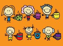 La famiglia gradice il caffè ed il tè illustrazione di stock