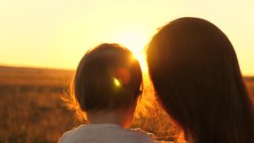 La famiglia, mamma bacia poca figlia in parco Concetto di un'infanzia felice madre con un piccolo sguardo del bambino ad un bello stock footage