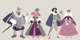 La famiglia reale Personaggi dei cartoni animati divertenti in costumi storici illustrazione di stock