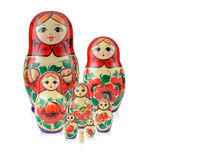 La famiglia russa ha messo la bambola 8 isolata Babushka o Matreshka Fotografia Stock
