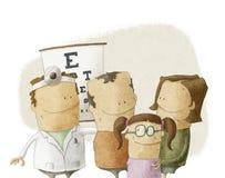 La famiglia visita medico dell'oculista Fotografia Stock Libera da Diritti