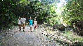 La familia camina en la calzada en selva tropical almacen de video