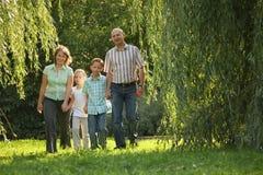 La familia con dos niños está recorriendo en parque imagen de archivo