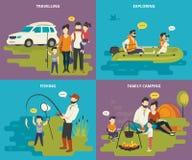 La familia con los iconos planos del concepto de los niños fijó de viajar, de la pesca y de acampar Imágenes de archivo libres de regalías