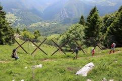 La familia de cuatro miembros camina en las montañas en verano Fotografía de archivo