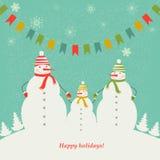 La familia de muñecos de nieve. Foto de archivo libre de regalías