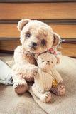 La familia de oso de peluche hecho a mano del abarcamiento del dulce de dos vintages juega Imagen de archivo