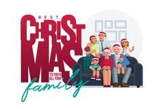 La familia entera es junta en la Navidad stock de ilustración