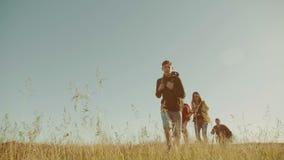 La familia feliz es vídeo corriente de la cámara lenta que camina en muchacha del funcionamiento del muchacho de naturaleza y mam almacen de metraje de vídeo
