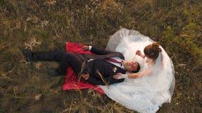 la familia feliz está mintiendo en campo en rayos de la puesta del sol hermosa la novia acaricia al novio con el tallo de la hier almacen de video