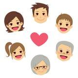 La familia feliz hace frente al corazón del círculo Foto de archivo