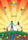 La familia feliz pasa el tiempo junto en la naturaleza stock de ilustración