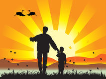 La familia feliz recorre en la naturaleza ilustración del vector