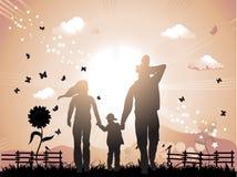 La familia feliz recorre en la naturaleza stock de ilustración