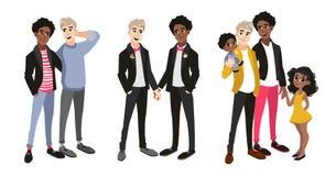 La familia fijó con los pares gay, dos papás y niños ilustración del vector