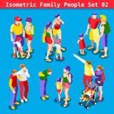 La familia fijó a 02 personas isométricas Imagen de archivo libre de regalías
