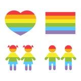 La familia gay LGBT endereza los iconos del raibow blancos Fotos de archivo libres de regalías