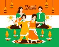 La familia india que celebra Diwali junta vector el ejemplo
