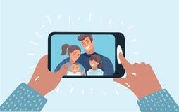 La familia joven con 2 niños está teniendo llamada video ilustración del vector