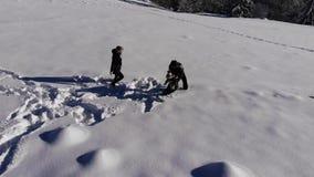La familia joven feliz se está divirtiendo que juega en la nieve Feliz caen en la nieve La familia es feliz junta almacen de metraje de vídeo