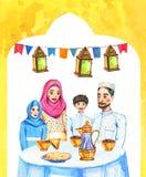 La familia musulmán feliz con dos niños y las decoraciones Ramadan Kareem Iftar van de fiesta la celebración, ejemplo dibujado ma ilustración del vector