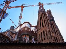 La Familia Sagrada,未完成的大教堂,巴塞罗那,西班牙 免版税库存照片