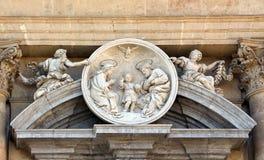 La familia santa, Barroco, mármol, roundel foto de archivo libre de regalías