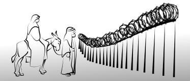 La familia santa con el burro en la frontera stock de ilustración