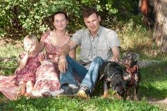 La familia se sienta en una hierba en parque, cerca allí es dos perros Imagen de archivo libre de regalías