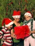 La familia sorprendida abre un regalo de la Navidad Foto de archivo