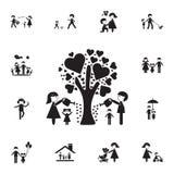 la famille a arrosé l'arbre de l'icône d'amour Ensemble détaillé d'icônes de famille Signe de la meilleure qualité de conception  illustration libre de droits