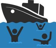 La famille de réfugié avec des enfants Navigation en Europe sur le bateau Transition et vie de terre dans le camp de réfugié euro illustration stock