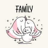 La famille du père et de la mère d'oiseau de deux parents étreignent son bébé Carte animale d'illustration de vecteur plat de ban Photo libre de droits