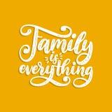 La famille est tout, expression manuscrite Citation inspirée de vecteur Lettrage de main pour l'affiche, copie de textile illustration libre de droits