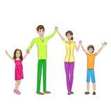 La famille heureuse élevée arme vers le haut de quatre personnes Images libres de droits