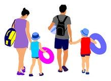 La famille heureuse ayant l'amusement, et vont au beau vecteur tropical ensoleillé de plage illustration stock