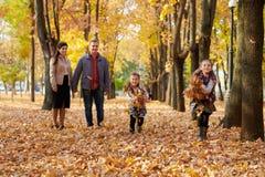 La famille heureuse est en parc de ville d'automne Enfants et parents courant avec des feuilles Ils posant, souriant, jouant et a photographie stock libre de droits