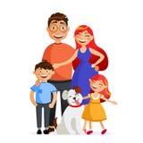 La famille heureuse se tiennent ensemble dans l'étreinte Père, mère, fils, fille et chien Illustration plate de vecteur de famill illustration de vecteur