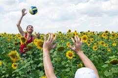 La famille joue au volleyball. Photographie stock libre de droits