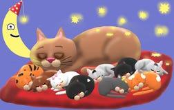 La famille, les étoiles et la lune de chat illustration de vecteur