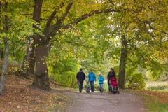 La famille marche en parc de Monrepos d'automne Images libres de droits