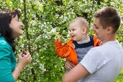 La famille marche en parc parmi les arbres photos libres de droits