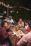 La famille noire adulte apprécient le dîner ensemble dans le jardin, vertical Image stock