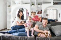 La famille prend soin du bouledogue de l'anglais de chiots Photos stock