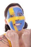 La fan bastante femenina de Suecia está alegre Fotos de archivo libres de regalías